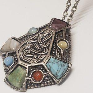 Unique Vintage Style Multi Stone Necklace